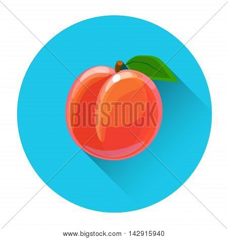 Peach Colorful Fruit Icon Flat Vector Illustration