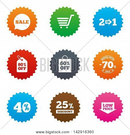 Sale discounts icon. Shopping cart, coupon and low price signs. 25, 40 and 60 percent off. Special offer symbols. Stars label button with flat icons. Vector