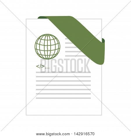 html format file document file digital extension global green label vector illustration isolated