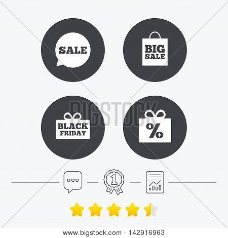 Sale speech bubble icon. Black friday gift box symbol. Big sale shopping bag. Discount percent sign. Chat, award medal and report linear icons. Star vote ranking. Vector