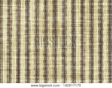 Brown coarse fabric with vertical artistic pattern.