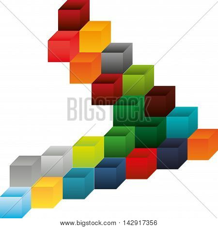 flat abstract cube pattern background design vector illustration