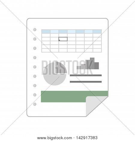 spreadsheet file data financial statistics table bars graph vector illustration isolated