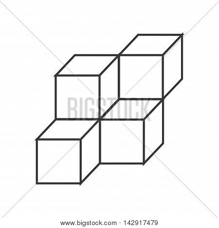 flat design 3d cubes icon vector illustration