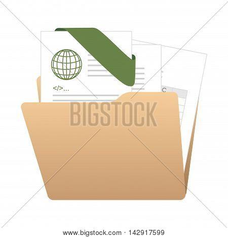binder folder files archive organizing office web information  vector illustration isolated