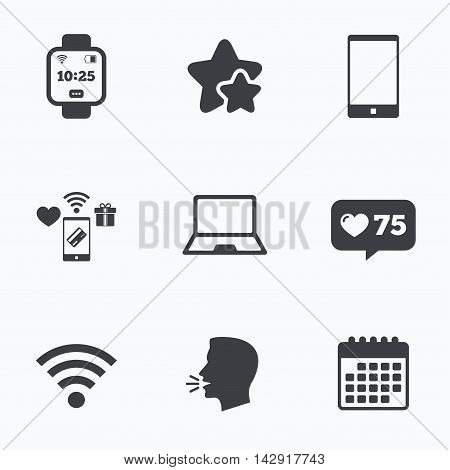 Notebook and smartphone icons. Smart watch symbol. Wi-fi and battery energy signs. Wireless Network symbol. Mobile devices. Flat talking head, calendar icons. Stars, like counter icons. Vector