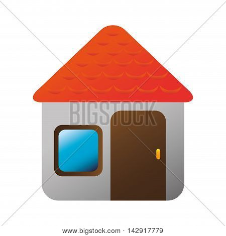 house door roof window home residence property vector illustration isolated