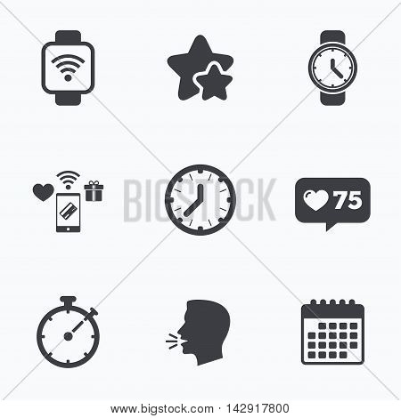 Smart watch wi-fi icons. Mechanical clock time, Stopwatch timer symbols. Wrist digital watch sign. Flat talking head, calendar icons. Stars, like counter icons. Vector
