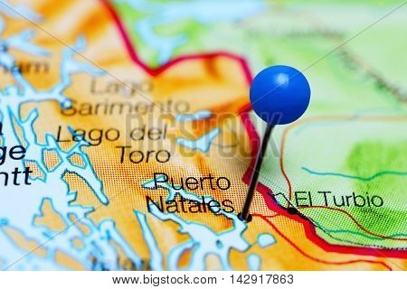 Puerto Natales pinned on a map of Chile