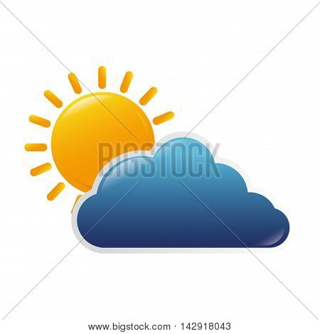 cloud sun weather sky blue yellow bright nature clear vector illustration isolated