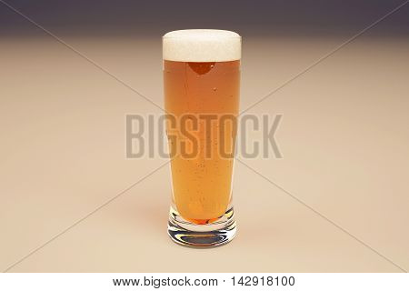 Closeup of full beer glass on light background. 3D Rendering