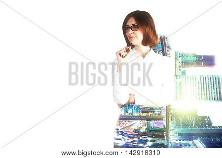 Pensive businesswoman on night city background with copyspace. Double exposure
