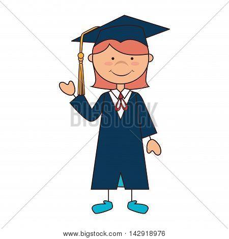 women girl hat graduate school graduation gown cap achievement vector illustration isolated
