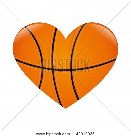 basketball heart love passion sport game ball vector illustration isolated