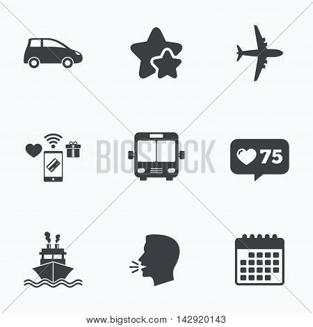 Transport icons. Car, Airplane, Public bus and Ship signs. Shipping delivery symbol. Air mail delivery sign. Flat talking head, calendar icons. Stars, like counter icons. Vector