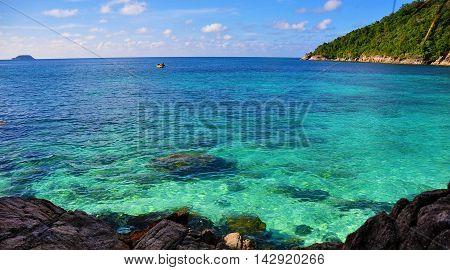 Panoramic view of the beautiful island of Perhentian, Malaysia