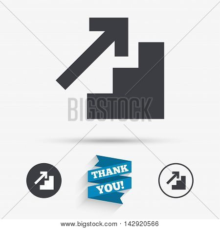 Upstairs icon. Up arrow sign. Flat icons. Buttons with icons. Thank you ribbon. Vector
