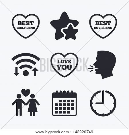 Valentine day love icons. Best girlfriend and boyfriend symbol. Couple lovers sign. Wifi internet, favorite stars, calendar and clock. Talking head. Vector