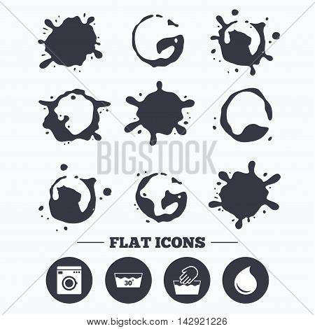 Paint, coffee or milk splash blots. Hand wash icon. Machine washable at 30 degrees symbols. Laundry washhouse and water drop signs. Smudges splashes drops. Vector