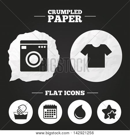 Crumpled paper speech bubble. Wash machine icon. Hand wash. T-shirt clothes symbol. Laundry washhouse and water drop signs. Not machine washable. Paper button. Vector