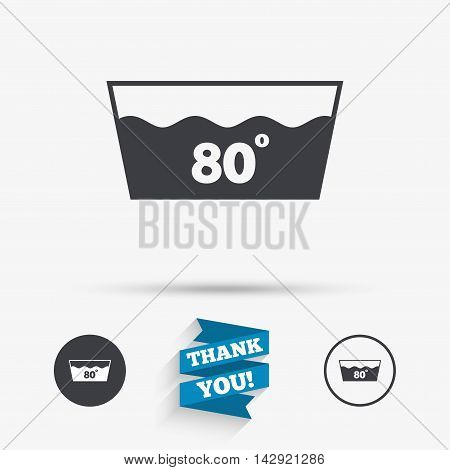 Wash icon. Machine washable at 80 degrees symbol. Flat icons. Buttons with icons. Thank you ribbon. Vector