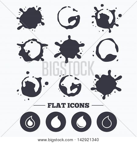 Paint, coffee or milk splash blots. Water drop icons. Tear or Oil drop symbols. Smudges splashes drops. Vector