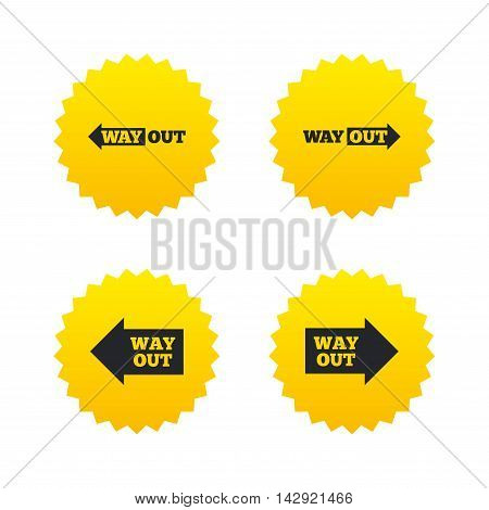 Way out icons. Left and right arrows symbols. Direction signs in the subway. Yellow stars labels with flat icons. Vector