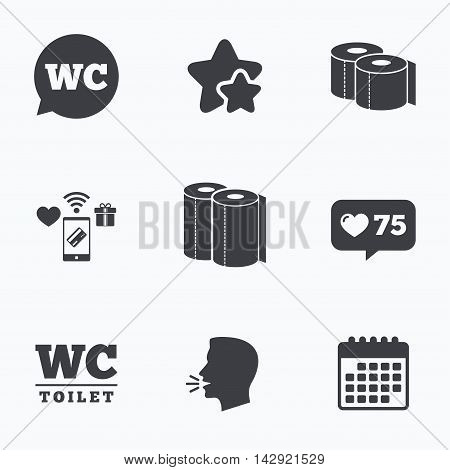 Toilet paper icons. Gents and ladies room signs. Paper towel or kitchen roll. Speech bubble symbol. Flat talking head, calendar icons. Stars, like counter icons. Vector