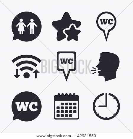 WC Toilet pointer icons. Gents and ladies room signs. Man and woman speech bubble symbols. Wifi internet, favorite stars, calendar and clock. Talking head. Vector