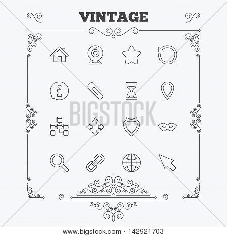 Web elements icons. Paperclip, video camera and information speech bubble. Database, anonymous mask and secure shield. Vintage ornament patterns. Decoration design elements. Vector