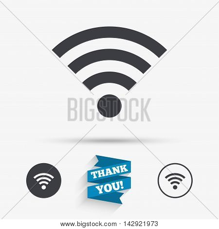 Wifi sign. Wi-fi symbol. Wireless Network icon. Wifi zone. Flat icons. Buttons with icons. Thank you ribbon. Vector