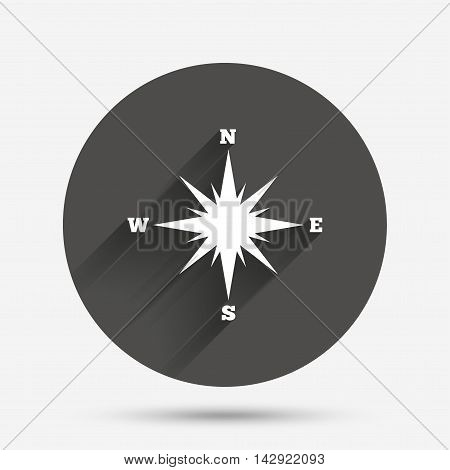 Compass sign icon. Windrose navigation symbol. Circle flat button with shadow. Vector