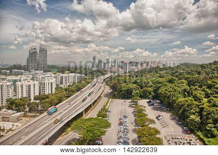 Amazing aerial views of Sentosa island Singapore
