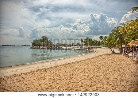 Views from the beach in Sentosa island Singapore