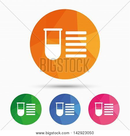 Medical test tube sign icon. Test list. Laboratory equipment symbol. Triangular low poly button with flat icon. Vector