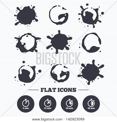 Paint, coffee or milk splash blots. Timer icons. 5, 15, 20 and 30 minutes stopwatch symbols. Smudges splashes drops. Vector