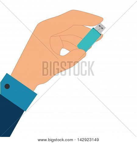 usb device connection data connect disk hand holding portable vector graphic illustration