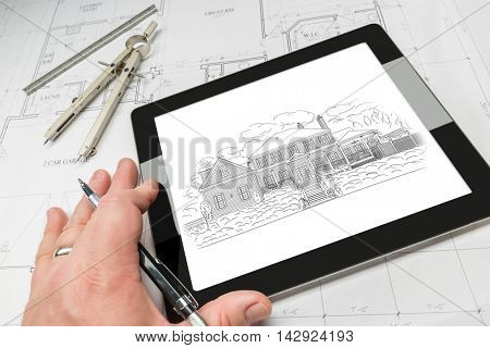 Hand of Architect on Computer Tablet Showing Home Illustration Over House Plans, Compass and Ruler.