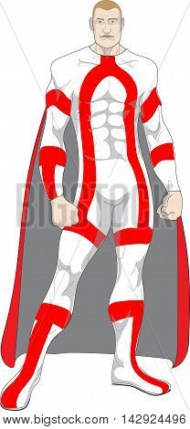Superhero in white with red stripes muscular with a cape