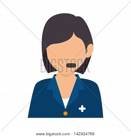 headset person call operator reception assistant support hospital health communication service vector isolated  illustration