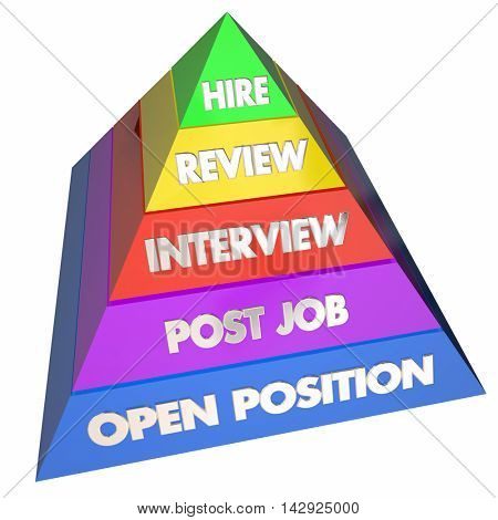 Hire Interview Job Open Position Steps Pyramid 3d Illustration
