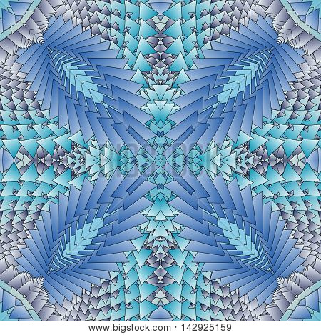Kaleidoscopic blue pattern. The image is computer graphics created using various programs. It can be used in the design of your site design textile printing industry in a variety of design projects.