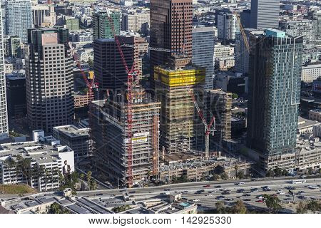 Los Angeles, California, USA - August 6, 2016:  Afternoon aerial view high rise construction in the South Park area of downtown.