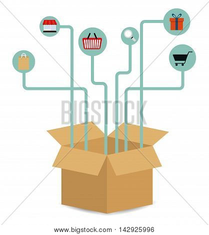 Box package basket lupe cart gift bag store delivery shipping icon. Colorfull and flat illustration. Vector graphic