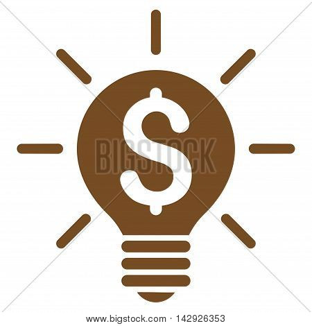 Business Idea Bulb icon. Vector style is flat iconic symbol with rounded angles, brown color, white background.