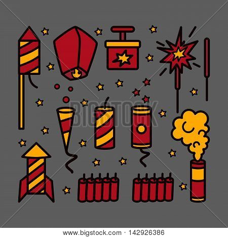 Pyrotechnic icons. Vector set on dark background.