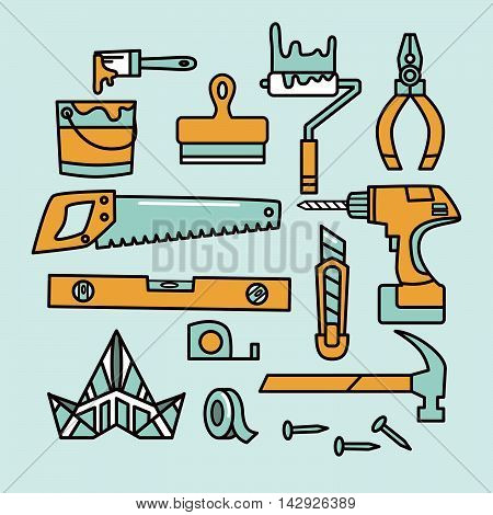 Redecoration tools. Vector icon set isolated on blue.