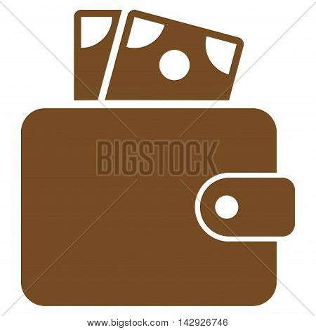 Wallet icon. Vector style is flat iconic symbol with rounded angles, brown color, white background.