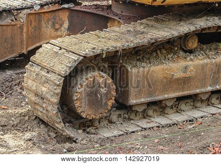 caterpillar track of the excavator. Working outdoor Construction heavy equipment