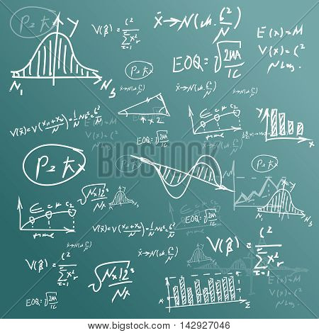 Vector Mathematical formula equation doodle handwriting on blackboard background